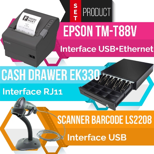 ชุด POS TM-T88V(USB+Ethernet Port) + EK330(RJ11) + LS2208(USB)