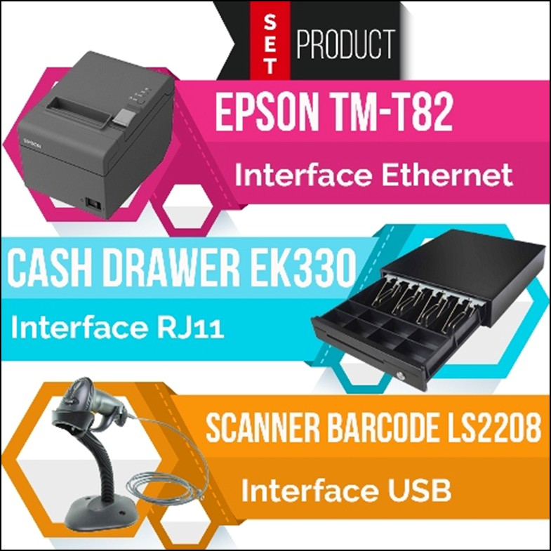ชุด POS TM-T82(Ethernet Port) + EK330(RJ11) + LS2208(USB)